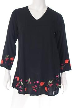 DN1723AS2 Tunic V neck long sleeves plain embroidered
