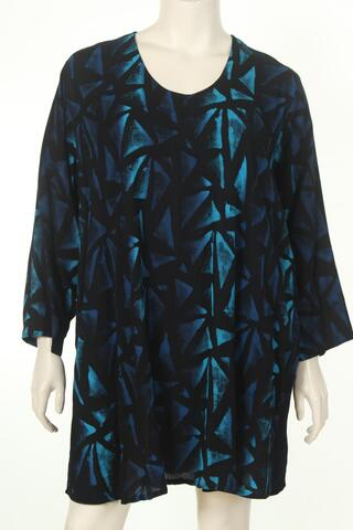AC1627T Tunique U neck long sleeve crincle batik viscose