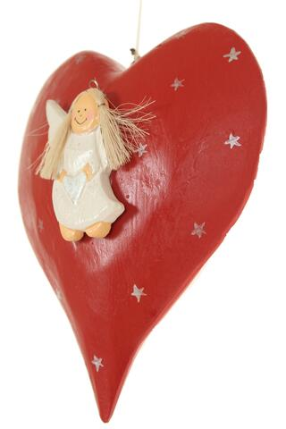 Heart woodcarving with angel