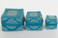 Pleated painted boxes set 3 small